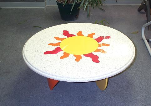 Custom table - Corian - Festival, Hot, Mandarin & Sun colors